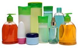 有液体皂的色的塑料瓶和 免版税库存图片