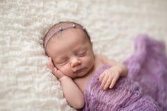 有淡紫色毯子的睡觉的新出生的女婴 免版税库存图片