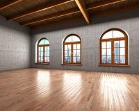 有混凝土墙的大宽敞的房间 库存图片