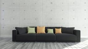有混凝土墙的,背景,模板设计黑布料沙发 图库摄影