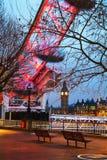 有清早钟楼的伦敦概要 免版税库存照片