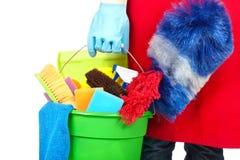 有清洁工具的佣人手 免版税库存照片
