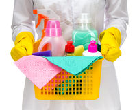 有清洁物品的更加干净的佣人妇女 库存照片