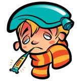 有温度计围巾和冰袋的动画片病态的男孩头 免版税库存图片