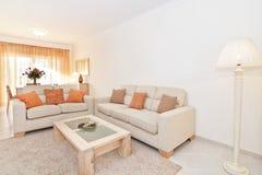有温暖的颜色的美丽的客厅。树荫。 库存图片