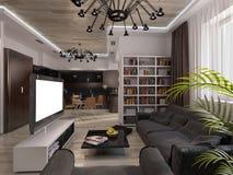 有温暖的颜色的设计客厅 免版税库存照片