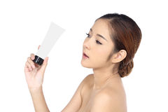 有温泉健康皮肤概念的美丽的亚裔妇女,整洁清洗 库存照片