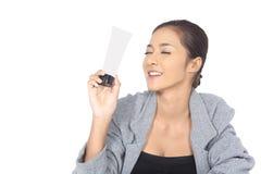 有温泉健康皮肤概念的美丽的亚裔妇女,整洁清洗 图库摄影