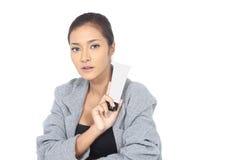 有温泉健康皮肤概念的美丽的亚裔妇女,整洁清洗 免版税库存图片