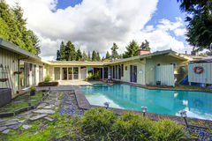 有游泳池的后院 库存照片