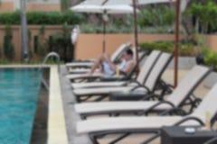 有游泳池的日光甲板 免版税图库摄影