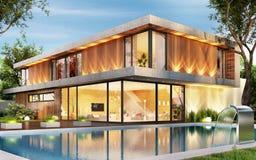 有游泳池的豪华房子 内部和外部 库存照片