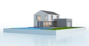 有游泳池的豪华斯堪的纳维亚房子在现代设计,在白色背景隔绝的大家庭的别墅 免版税库存图片