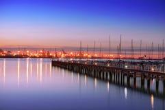 有游艇帆柱的格乔码头 库存图片