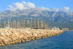 有游艇的港口在凯梅尔 图库摄影