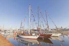 有游艇的什切青的小游艇船坞 免版税库存图片