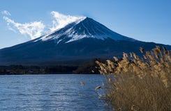有湖和长的草前景的放大登上Fujit  免版税库存照片