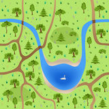 有湖的无缝的森林 库存照片