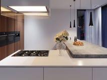 有滚刀的当代厨房和固定装置、白色和硬木门面 具体台式酒吧 向量例证