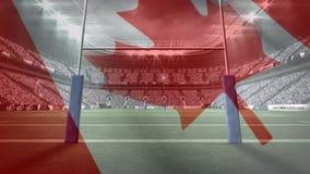 有漂浮在前景的加拿大旗子的橄榄球体育场 皇族释放例证