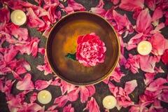 有漂浮的顶视图西藏唱歌碗里面在水桃红色牡丹花 燃烧的蜡烛和瓣在黑石backg 库存图片