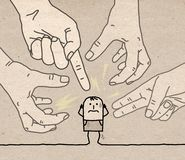 有漫画人物的一臂之力-侵略和偏执狂 皇族释放例证