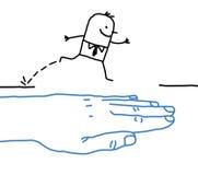 有漫画人物的-帮助一臂之力 向量例证