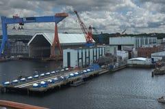有潜水艇的造船厂 库存图片
