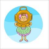 有潜水盔甲的小女孩 库存例证