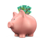 有澳大利亚元的存钱罐 库存照片