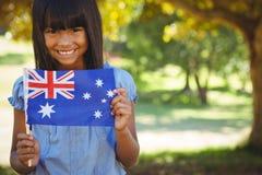 有澳大利亚旗子的逗人喜爱的小女孩 库存照片