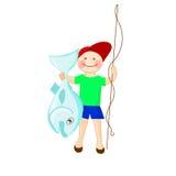 有澳大利亚鱼perl栖息处的愉快的渔夫 成功的trop 库存例证
