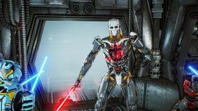有激光剑的宇航员在一个外籍人机器人侵略者的埋伏掩藏了他的太空飞船的 超级现实科学幻想小说概念 皇族释放例证