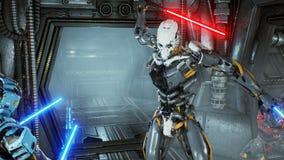 有激光剑的宇航员在一个外籍人机器人侵略者的埋伏掩藏了他的太空飞船的 超级现实科学幻想小说概念 库存例证