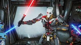 有激光剑的宇航员在一个外籍人机器人侵略者的埋伏掩藏了他的太空飞船的 超级现实科学幻想小说概念 向量例证