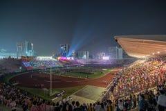 有激光展示的Supachalasai体育场 库存照片