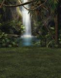 有瀑布的密林理想国 图库摄影