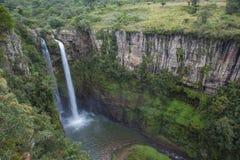 有瀑布的豪华的热带森林峡谷 图库摄影