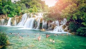 有瀑布的Krka国家公园 免版税图库摄影