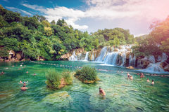 有瀑布的Krka国家公园 库存图片
