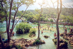 有瀑布的Krka国家公园 库存照片