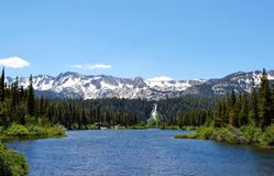 有瀑布的Mammoth Mountain湖 免版税库存图片