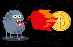 有火和美元硬币的逗人喜爱的妖怪。 免版税库存图片