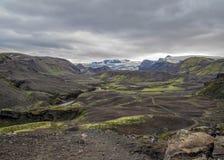 有火山的,峡谷,冰河河,高地沙漠和恶劣的植被剧烈的冰岛地形,在Laugavegur足迹 库存照片