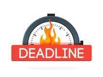 有火火焰徽章的秒表 最后期限概念 适应图标 向量例证