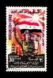 有火炬的战士,人群,旗子,工厂设备,军队天serie,大约1965年 免版税库存图片