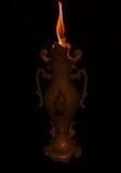 有火的哥特式花瓶 免版税库存图片