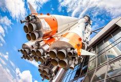 有火箭发动机的俄国空间运输火箭 免版税库存图片