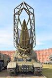 有火箭的导弹复杂9K72 Elbrus 8K14发射器2P19在军事火炮博物馆 免版税库存照片