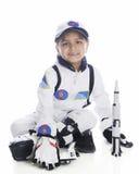 有火箭队的年轻宇航员 库存图片